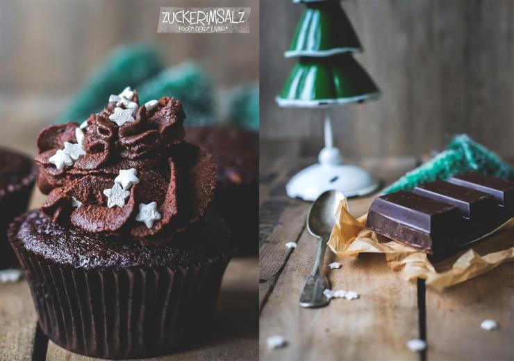 Muffins Cupcake Schoko Kaffee Schokoganache Ganache Weihnachten X-Mas braun grün Sweet Table