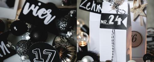 Adventskalender DIY All Inklusive Paket Vorlage Druck kostenlos Freebie schwarz weiß natur silber Weihnachten X-Mas Zahlen download Milchtüte