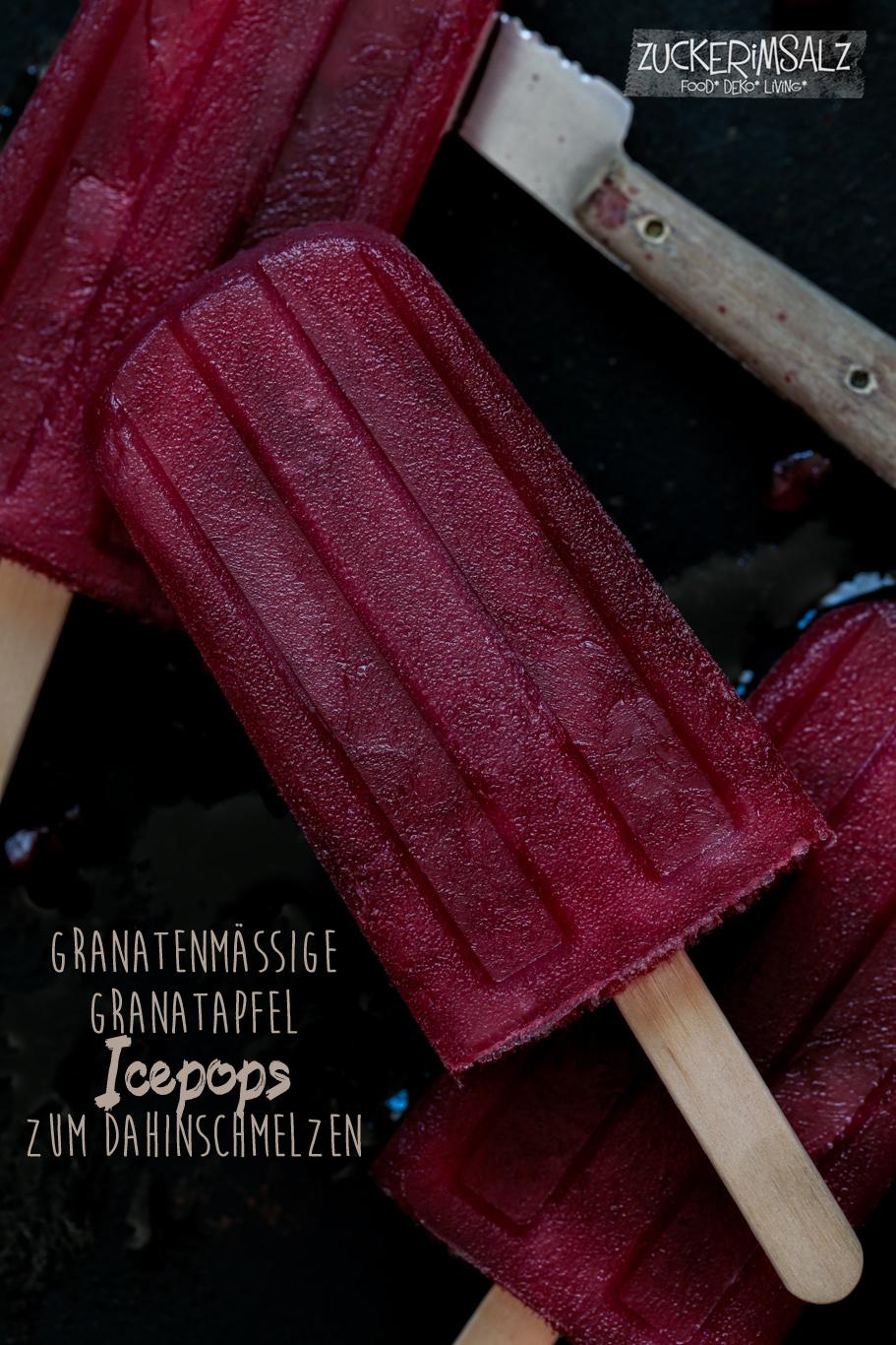 Granatenmässige Granatapfel Icepops zum Dahinschmelzen