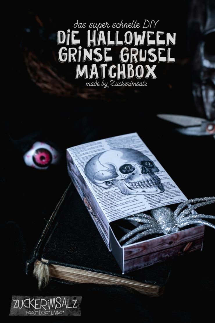 Halloween Scrapbook Geschenk / Schachtel / Matchbox / Schädel , Skulls, Freebie, DIY