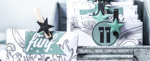 Adventskalender DIY All Inklusive Paket Vorlage Druck kostenlos Freebie schwarz grün Weihnachten X-Mas Zahlen download