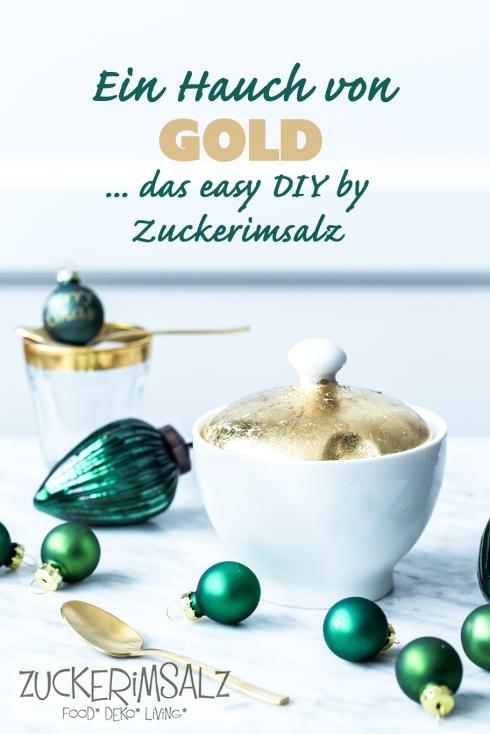 DIY Porzellan Blattgold veredeln vergolden Weihnachten X-Mas Geschenk einfach