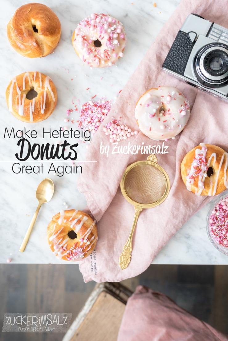 Hefe Donuts aus dem Backofen, mit Zuckerglasur und Streusel