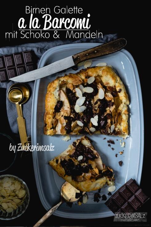 Schokoladen Birnen Galette, Barcomi mit Mandeln