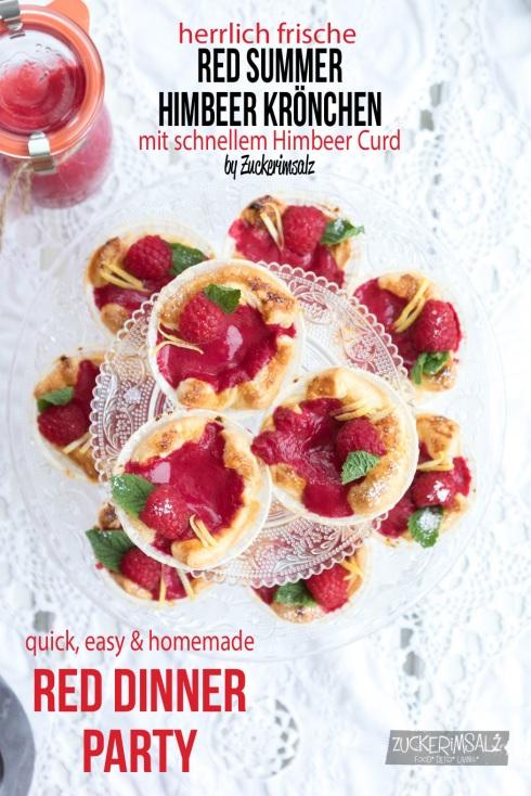 Himbeer Blätterteig Krönchen, Muffins, Himbeer Curd, Red Dinner