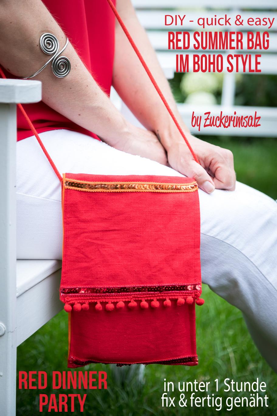Red Summer Bag im Boho Style … DIY in unter 1 Stunde fix & fertig genäht