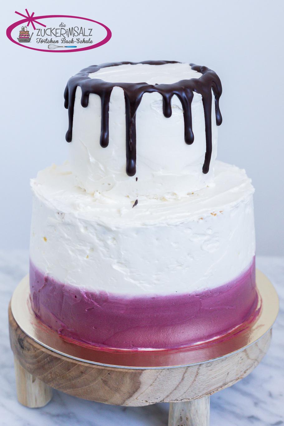 Torte, Törtchen, Backschule, zweistöckig, Mini Torte, Dekorieren , Dripcake