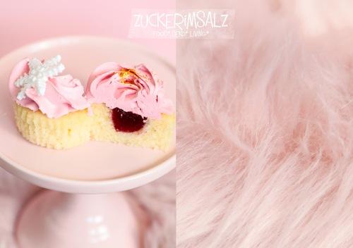 Vanille, Törtchen, Cupcakes, Swiss Meringue Buttercreme, Fondant, Schneeflocke, Eiskristall, Marmelade, gefüllt