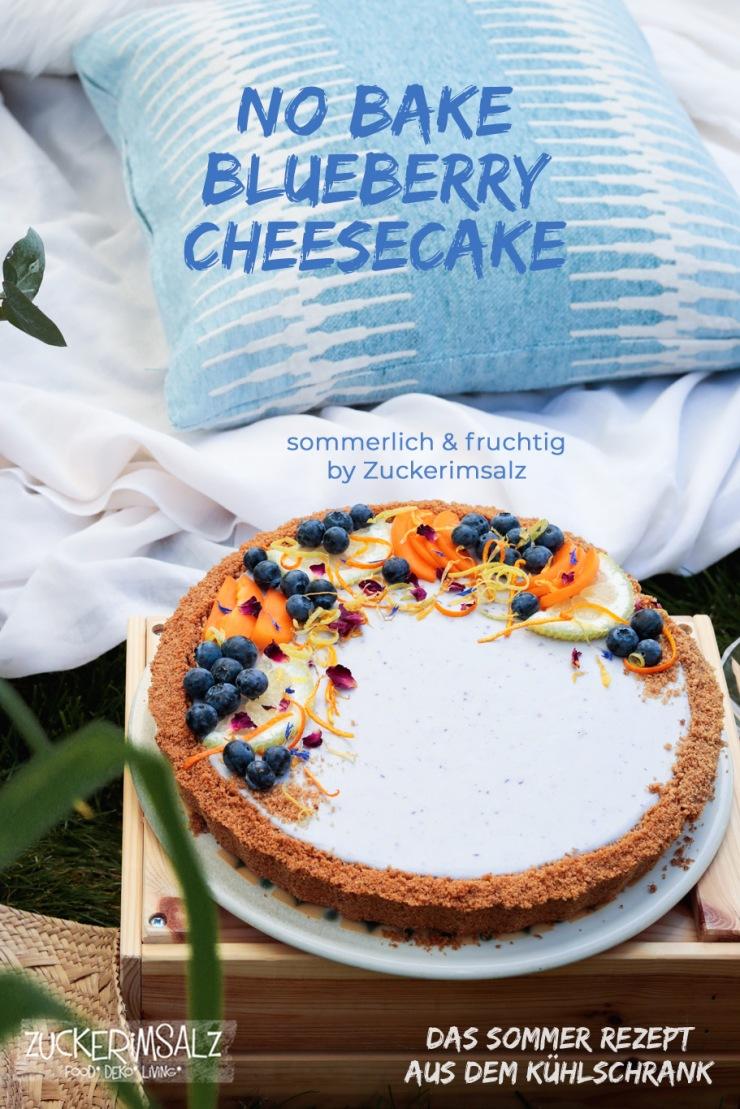 No Bake, Cheesecake, Kühlschrank, Blueberry, Blaubeeren, Obst, Keksboden