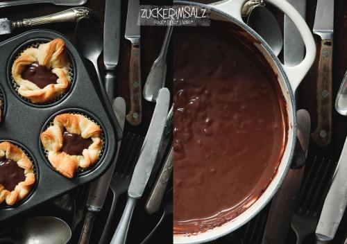 Quick, Easy, Nachtisch, 30 Minuten, Früchte, Schokolade, Pudding, Blätterteig, Anfänger, backen