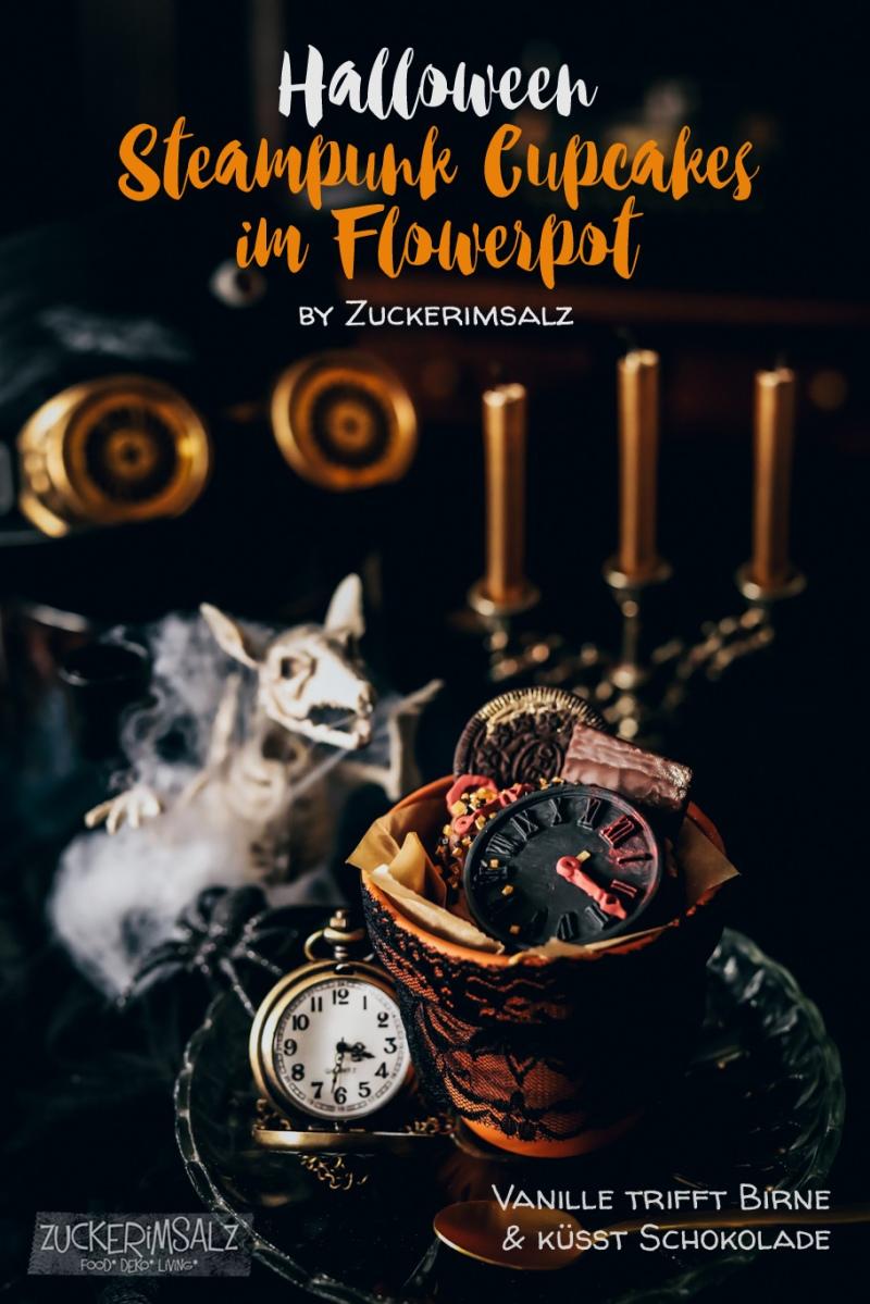 Halloween Steampunk Cupcakes Im Flowerpot Vanille Trifft Birne Kusst Schokolade Zuckerimsalz