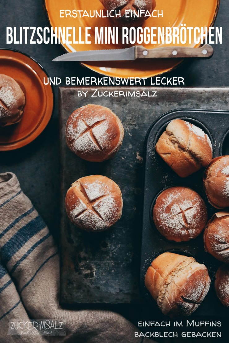blitzschnelle, Mini, Roggen, Brötchen, erstaunlich einfach, bemerkenswert lecker, Trockenhefe, Muffins, Backblech, Partybroetchen,
