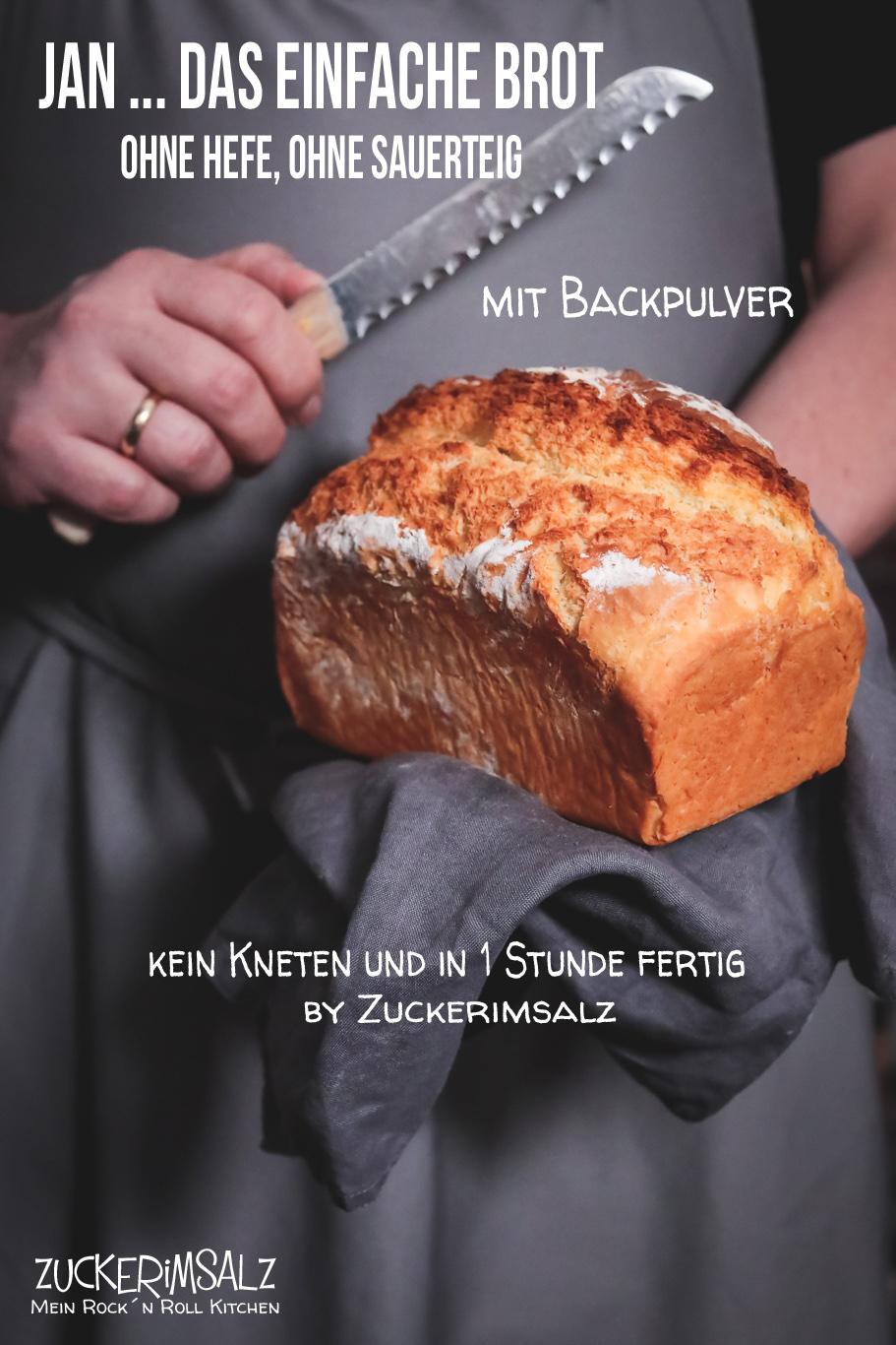 Jan … das einfache Brot mit Backpulver – ohne Hefe, ohne Sauerteig und ohne kneten