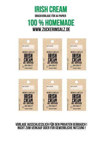 Freebie, Etiketten, Sahne, Likör, Schoko, Kaffee, irish, cream, baileys, selbstgemacht, selber machen, Homemade, Rezept, Ostern, Geschenk, verschenken