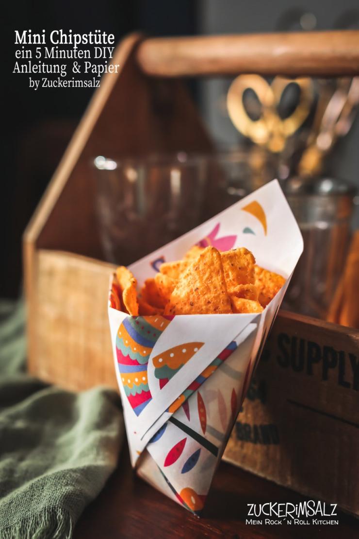Mini Chips Tüte, Bastelanleitung, 5 Minuten, DIY, Download, Schritt für Schritt, Verpackung, kostenlos,Anleitung