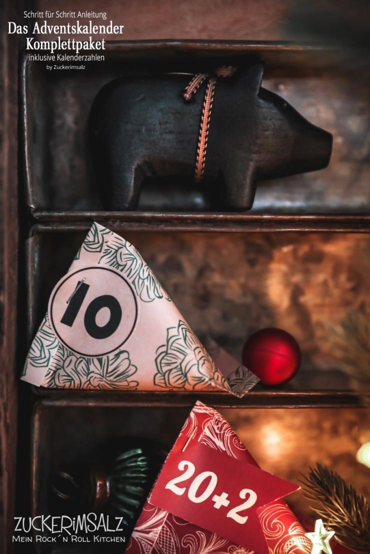 Adventskalender, Komplettpaket, DIY, Basteln, kostenlos, Schritt für Schritt, Anleitung, Kalenderzahlen, Sour Cream Box, Container