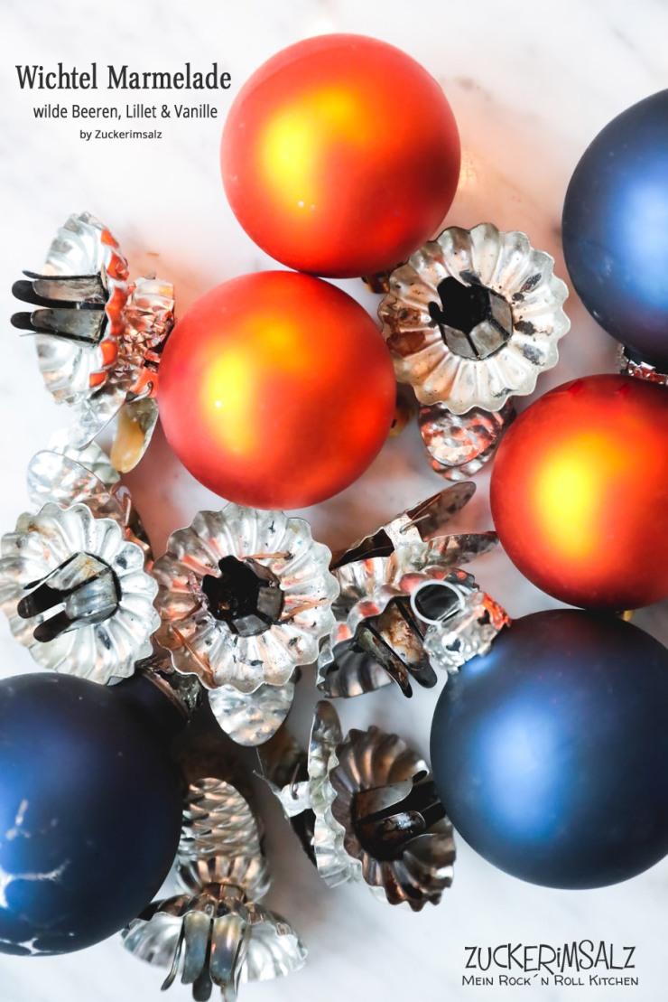 Weihnachtsmarmelade, Weihnachten, Marmelade, fleissige Wichtel, Beerenmischung, Beeren, Lillet, Vanille, Zuckerimsalz, einmachen, Geschenk aus der Küche, Einmachgläser, dekorieren, Vintage, Winter, Weihnachten, Marmeladenglas
