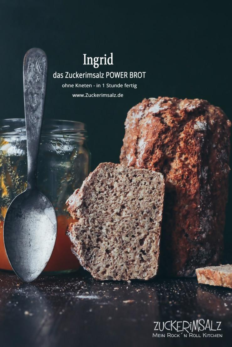Ingrid, Power Brot, Zuckerimsalz, ohne kneten, 1 Stunde fertig, Dinkelvollkornmehl, mit Körner, Saaten, Müsli, Haferflocken, Kastenbrot