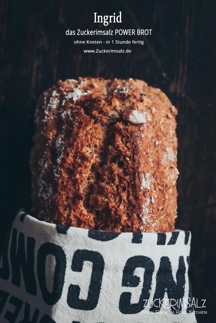 Ingrid, Power Brot, Zuckerimsalz, ohne kneten, 1 Stunde fertig, Dinkelvollkornmehl, mit Körner, Saaten, Müsli, Haferflocken, Kastenbrot, Brotbackmischung