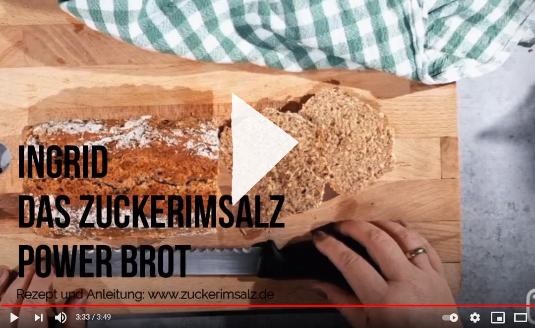 Video, Anleitung, Schritt für Schritt, Ingrid, Power Brot, Zuckerimsalz, ohne kneten, 1 Stunde fertig, Dinkelvollkornmehl, mit Körner, Saaten, Müsli, Haferflocken, Kastenbrot