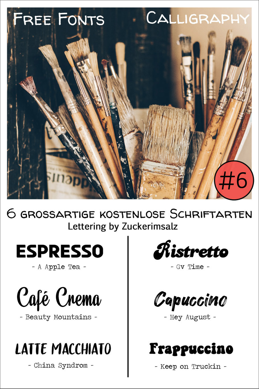 Freebie | 6 grossartige kostenlose Schriftarten … Lettering by Zuckerimsalz #6 – im Poster Style