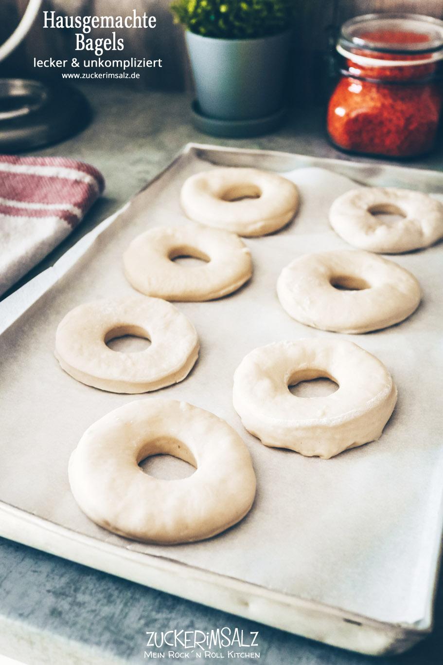 Bagels, Hausgemacht, selbstgemacht, homemade, lecker, einfach, unkompliziert, ohne Natron, Zuckerimsalz, backen, Brötchen, schnell