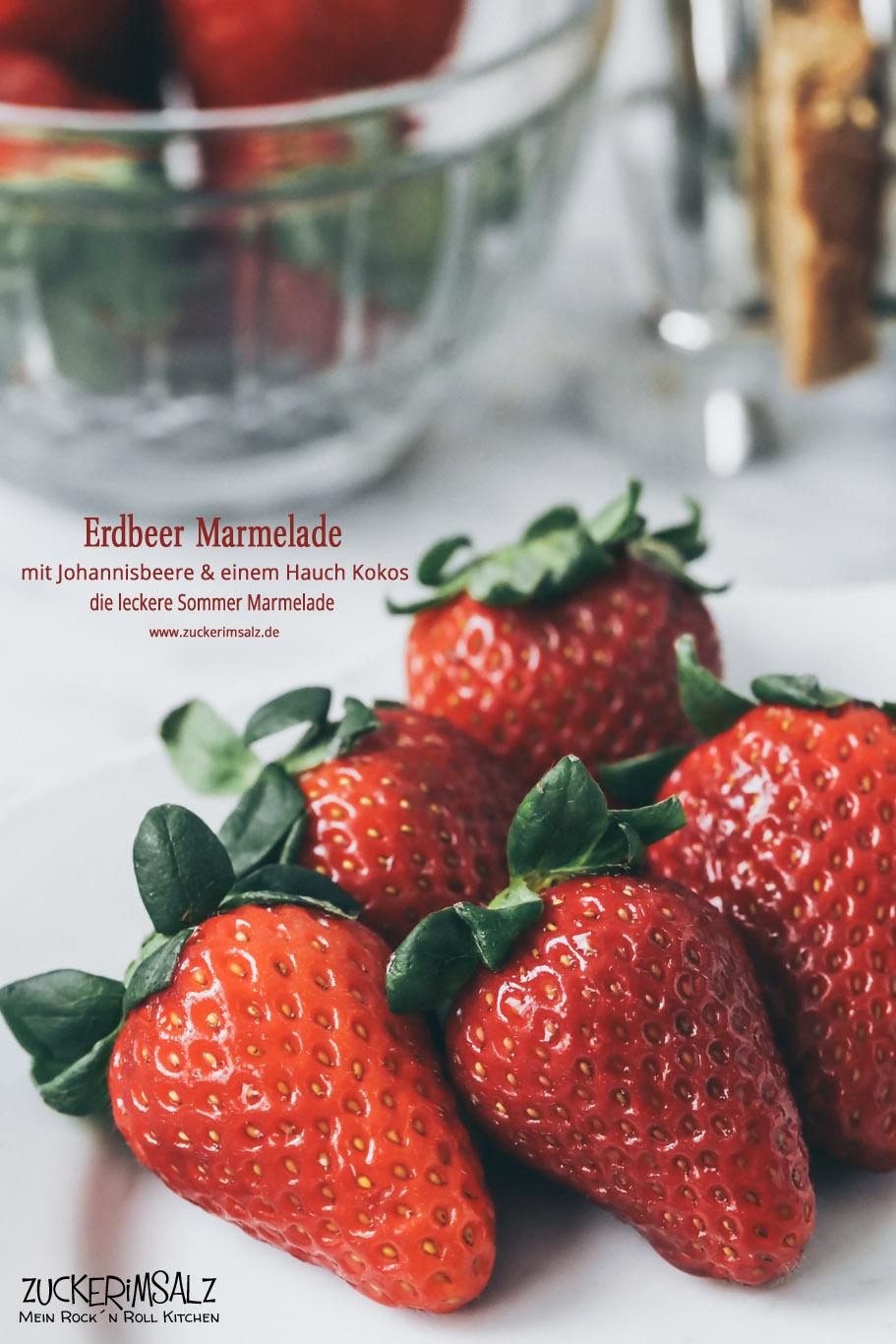 Sommermarmelade, Sommer, Marmelade, Erdbeeren, Johannisbeere, Kokos, Sirup, Zuckerimsalz, einmachen, Geschenk aus der Küche, Einmachgläser, dekorieren, Vintage, Marmeladenglas, Etiketten