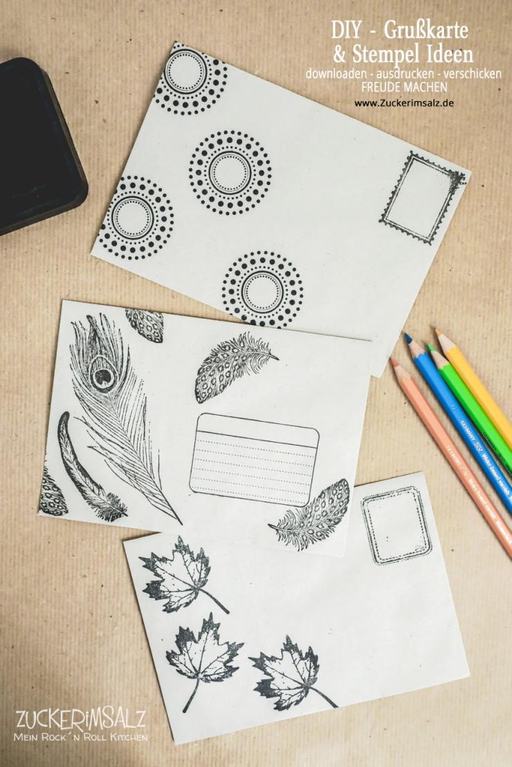 Stempel, Ideen, Briefumschlag, Kuvert, DIY, Freundschaft, Grußkarte, Karte, Freebie, kostenlos, download, Heimat