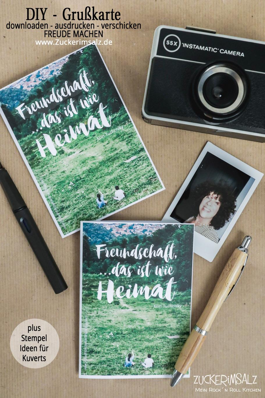 Die kostenlose Freundschafts Grußkarte zum Downloaden plus kreative Stempel Ideen für Briefumschläge | das DIY Freebie
